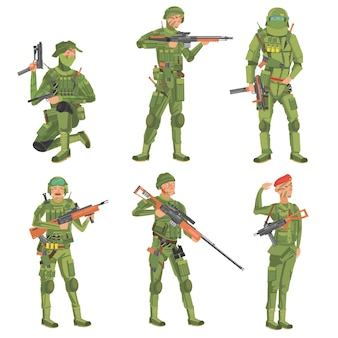 Soldats sur fond blanc.