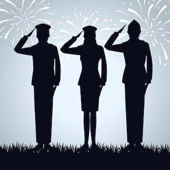 Soldats patriotiques au jour du mémorial traditionnel