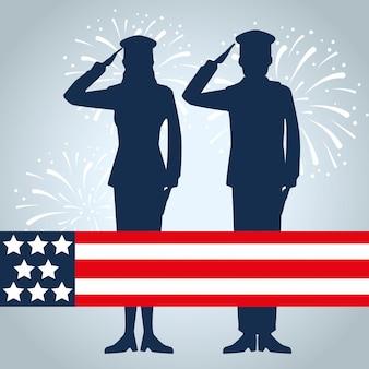 Soldats patriotiques avec drapeau usa en vacances