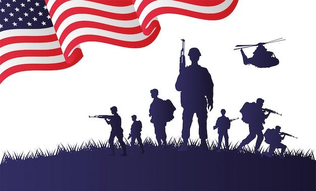 Des soldats et des silhouettes d'hélicoptères dans le drapeau des états-unis