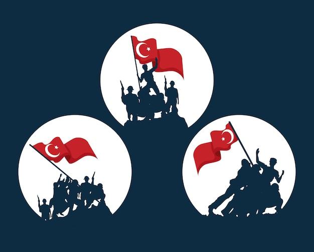 Soldats de zafer bayrami avec jeu d'icônes de drapeau turc