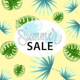 Solde d'été. affiche promotionnelle avec motif de feuilles tropicales sur fond jaune