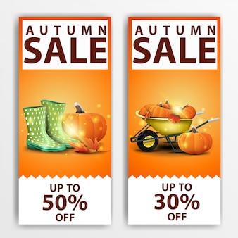 Soldes d'automne, deux bannières verticales à prix réduits \