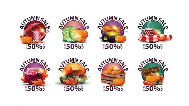 Soldes d'automne, jusqu'à 50% de réduction, grande collection de bons de réduction ronds pour votre site web avec des icônes d'automne