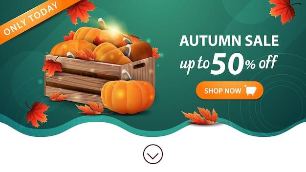 Soldes d'automne, modèle de bannière web vert avec bouton
