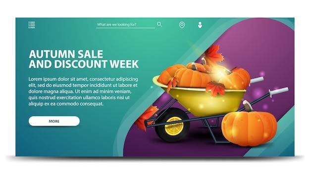 Soldes d'automne et semaine de remise, bannière web verte moderne
