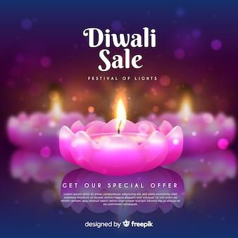 Soldes du festival de diwali avec de belles bougies roses