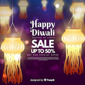 Soldes du festival de diwali avec lumières