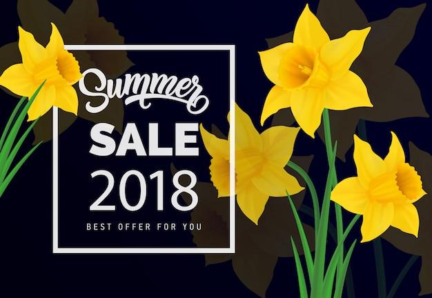 Soldes d'été 2018 meilleure offre pour le lettrage. inscription de saison avec jonquille jaune.
