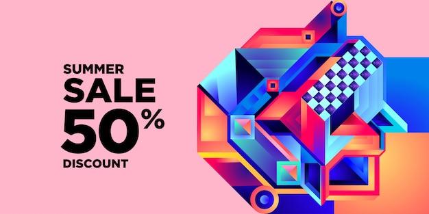 Soldes d'été 50% de réduction bannière colorée abstraite géométrique