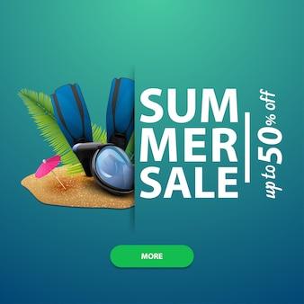 Soldes d'été, bannière carrée pour votre site web, publicité et promotions