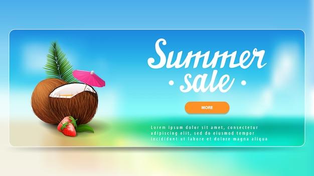 Soldes d'été, bannière d'escompte avec bouton