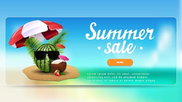 Soldes d'été, bannière d'escompte pour votre site web avec un magnifique paysage marin