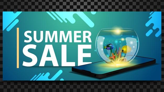 Soldes d'été, bannière horizontale à prix réduits avec un smartphone