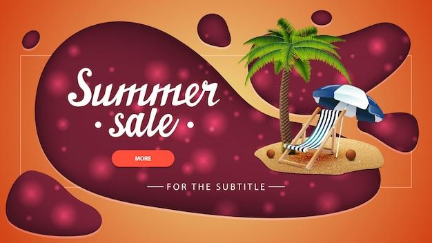 Soldes d'été, bannière orange avec un design moderne