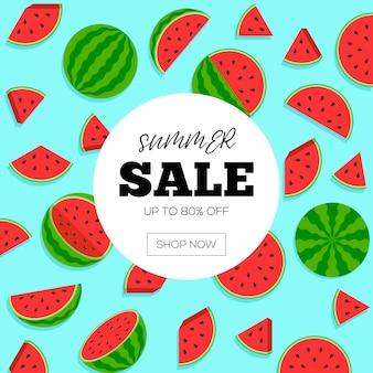 Soldes d'été avec bannière de pastèque