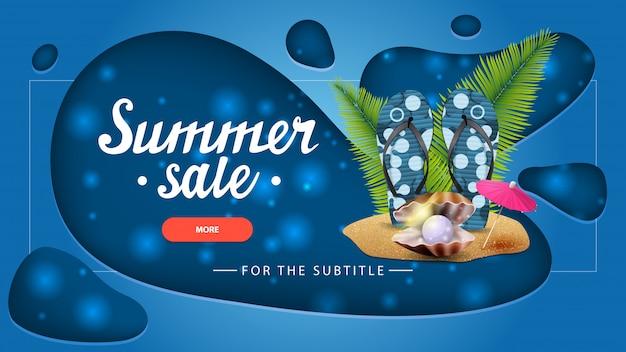 Soldes d'été, bannière de réduction bleue avec un design moderne