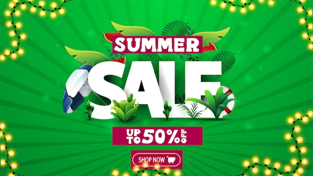 Soldes d'été, bannière de réduction verte avec texte 3d décoré de feuilles tropicales et d'éléments d'été, cadre de bouton et de guirlande