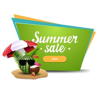 Soldes d'été, bannière web cliquable géométrique pour votre entreprise avec melon d'eau dans des verres