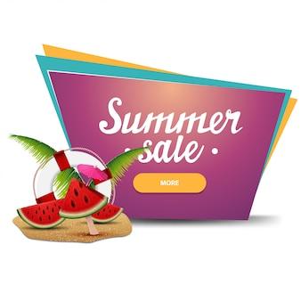Soldes d'été, bannière web cliquable géométrique pour votre entreprise avec des tranches de melon d'eau