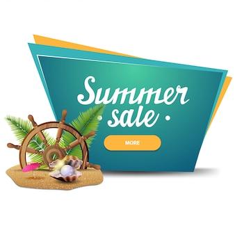Soldes d'été, bannière web cliquable géométrique pour votre entreprise