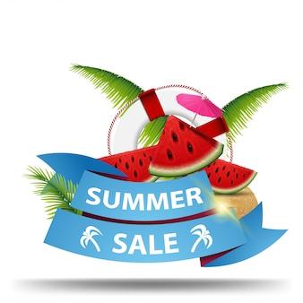 Soldes d'été, bannière web créatif avec ruban