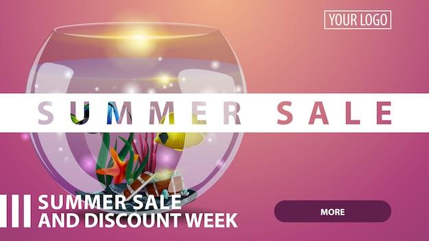 Soldes d'été, bannière web créative à rabais rose pour votre site web