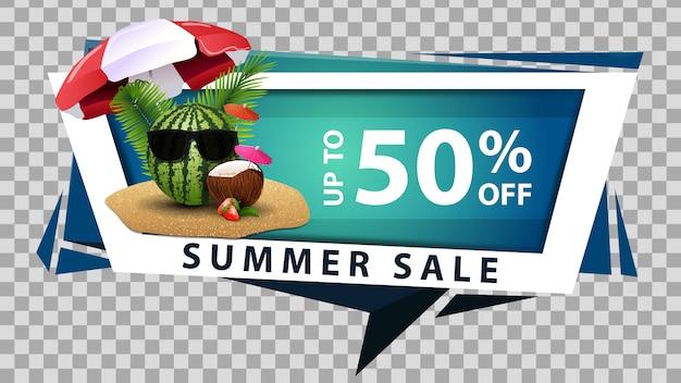 Soldes d'été, bannière web discount en style géométrique