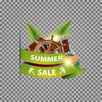 Soldes d'été, bannière web isolée avec ruban, coffre au trésor