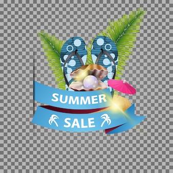 Soldes d'été, bannière web isolée avec ruban et tongs