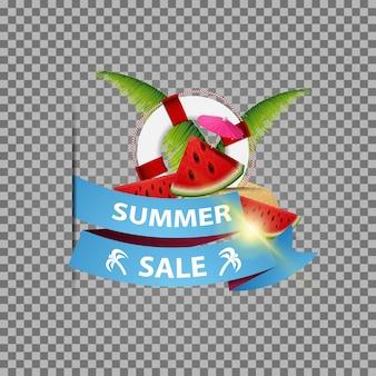 Soldes d'été, bannière web isolée avec ruban, tranches de melon d'eau