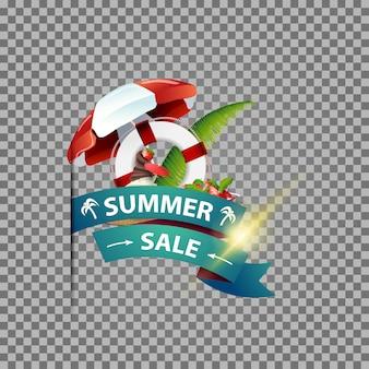 Soldes d'été, bannière web isolée avec ruban