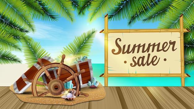 Soldes d'été, bannière web avec magnifique paysage marin, feuilles de palmier, jetée en bois