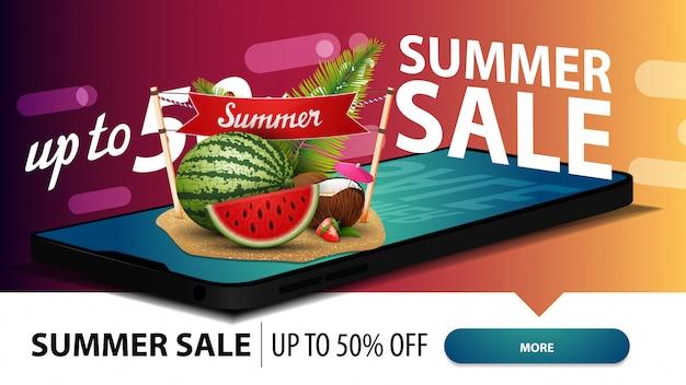 Soldes d'été, bannière web à prix discount moderne pour votre site web avec un smartphone