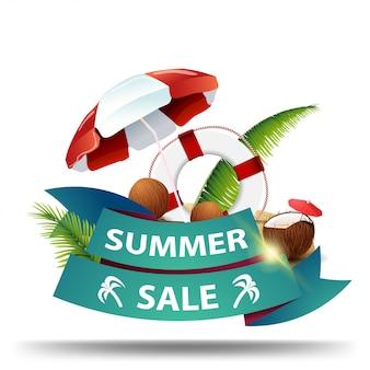 Soldes d'été, bannière web à prix réduit sous forme de rubans pour votre entreprise