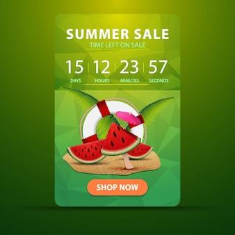 Soldes d'été, bannière web à remise verticale pour votre site web avec le minuteur d'action