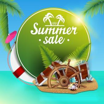 Soldes d'été, bannière web ronde pour votre entreprise avec de belles vues sur la mer