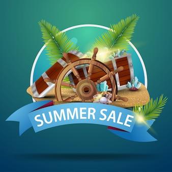 Soldes d'été, bannière web ronde pour votre publicité avec coffre au trésor