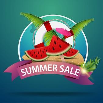 Soldes d'été, bannière web ronde pour votre publicité avec des tranches de melon d'eau