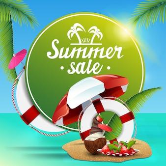 Soldes d'été, bannière web ronde verte pour votre entreprise
