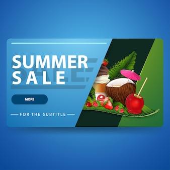 Soldes d'été, bannière web volumétrique 3d bleu moderne avec un design à la mode