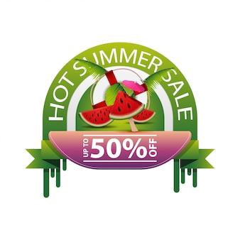 Soldes d'été chauds, bannière web ronde pour votre entreprise