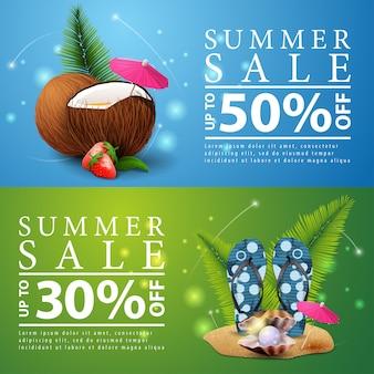 Soldes d'été, deux bannières à prix réduit pour votre site web