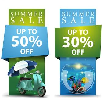 Soldes d'été, deux bannières à prix réduits