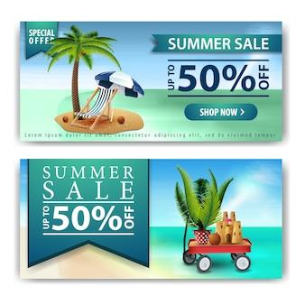 Soldes d'été, deux bannières de remise horizontale pour votre entreprise