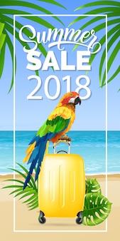 Soldes d'été deux mille dix-huit lettrage dans le cadre avec la plage de la mer et le perroquet