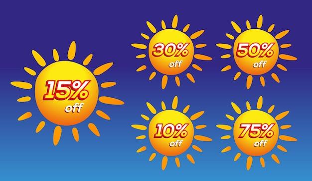 Soldes d'été différents pourcentages sur les soleils jaunes sur fond dégradé bleu
