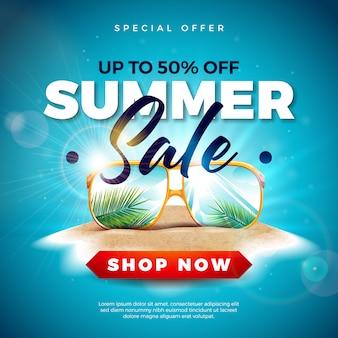 Soldes d'été avec des feuilles de palmier exotiques dans des lunettes de soleil sur une île tropicale