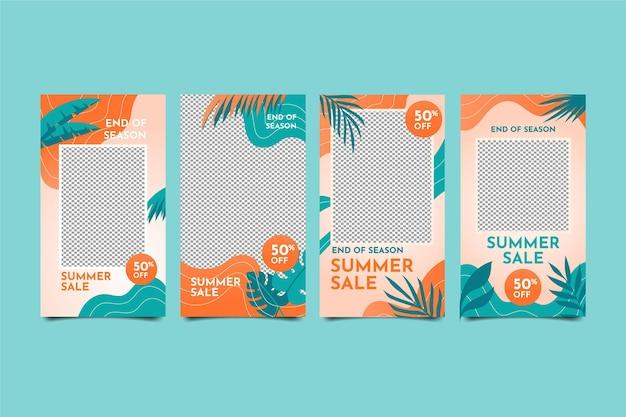 Soldes d'été de fin de saison collection d'histoires instagram