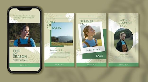 Soldes d'été de fin de saison collection d'histoires intagram